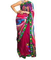 Purple Digital Print Saree