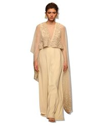 Crystal Embroidered Crepe Indo Western Dress