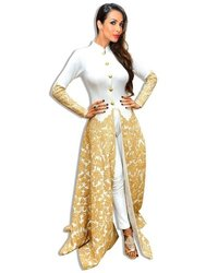 Gold Zari Embroidered Indo Western Dress