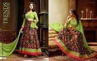 Lehenga Kum Anarkali Embroidary Green Color