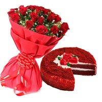 Red Velvet Cake With Roses Combo