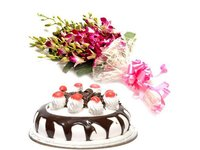 Orchids And Black Forest Wonder Combo Cake