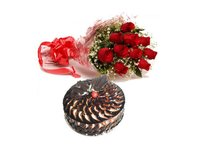 Choco-Cake And Roses Galore Combo