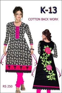 Cotton Back Work Ladies Kurti