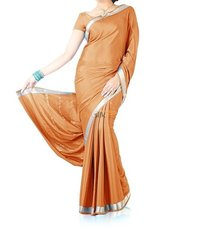 Pure Crepe Silk Saree Piping Border Light Orange
