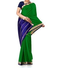 Contrast Leaf Green Pure Crepe Silk Saree