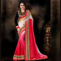 Embroidered Pure Crepe Saree