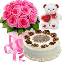 Designer Bouquet of Pink Roses with Chocolate cake and Teddy