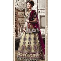 Cream Net Embroidered Lehenga With Net Dupatta