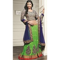 Green Net Exclusive Patch Embroidered Lehenga With Net Dupatta