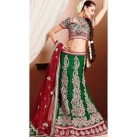 Green Red Half Net Half Poly Silk Embroidered Lehenga Saree