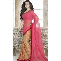Pink Yellow Poly Georgette Printed Stone Work Saree