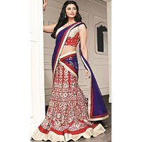 Red Poly Georgette Resham Embroidered Lehenga With Net Dupatta