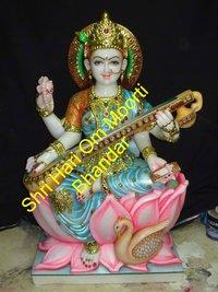 Goddess Saraswati White Marble Statues