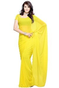 Ladies Plain Yellow Saree