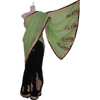 Black & Pale Green Designer Double Shades Saree
