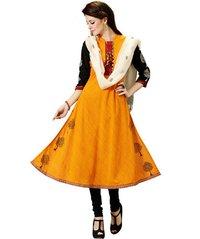 Deepkala Silk Heritage Gold Yellow Pure Cotton Salwar Suit
