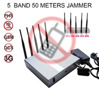 High Power Cell Phone Jammer 5 Band 50 Meters Radius