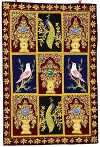 Jewel Carpet Wall Hanging With Zardozi Hand Embroidery
