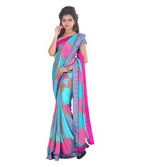 Daily Wear Blue Marble Chiffon Sarees