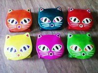 Cat Face Leather Coin Purse
