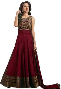 Maroon Color Soft Net Fabric Heavy Embroidered Semi Stitched Designer Anarkali Gown Suit