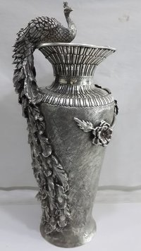 Handcrafted Silver Peacock Flower Vase