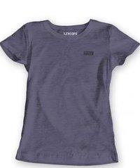 Girls Navy Melange Solid T-shirt