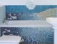 Glass Mosaic Tiles With Swimming Design