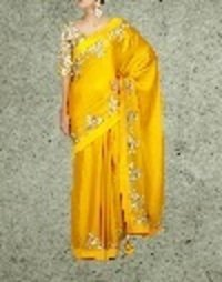 Mango Silk Satin Saree With Heavy Embroidered Blouse