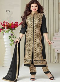 Black Chanderi Churidar Suit Dress Material