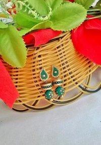 Green And Gold Mango Terracotta Earrings
