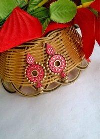 Pink Ethnic Terracotta Earrings