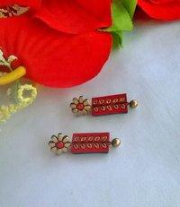 Red And Gold Flower Terracotta Earrings
