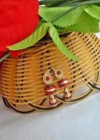 Red And Gold Mango Handmade Terracotta Earrings Set