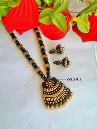 Gold And Black Terracotta Pendant Set