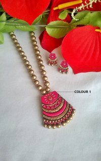 Gold And Pink Handmade Terracotta Pendant Set