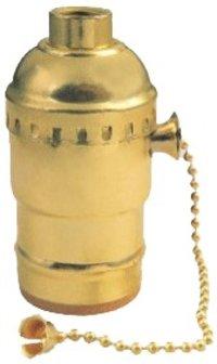 Lamp Socket E26 Pull Chain On-Off Aluminum Gold