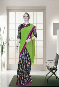 Pure Crepe Half And Half Saree