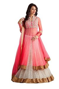 Pink Net and Brasso Embroidered Lehenga Choli And Dupatta Set