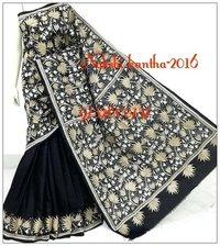 Kantha Black Saree