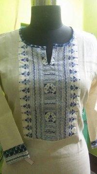 Designer Kantha Work Cotton Kurtis