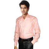 Formal Design Khadi Mens Light Orange Shirt