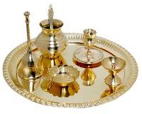 Brass Pooja Thali With Puja Item