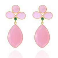 Pink Chalcedony Gemstone Earrings Set