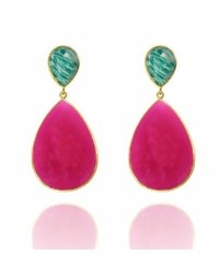 Fuchsia Chalcedony And Amzonite Gemstone Earrings
