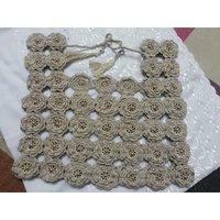 Crochet Golden Floral Saree Blouse