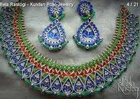 Designer Kundan Meena Necklace Set