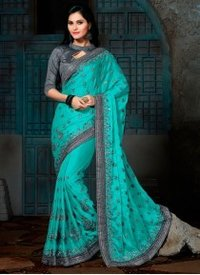 Distinguishable Pure Crepe Turquoise Designer Saree