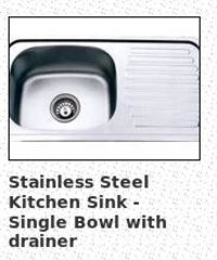 Stainless Steel Kitchen Sink - Single Bowl With Drainer